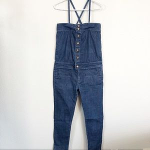 Anthro Silence + Noise Overall Denim Jumpsuit sz 2
